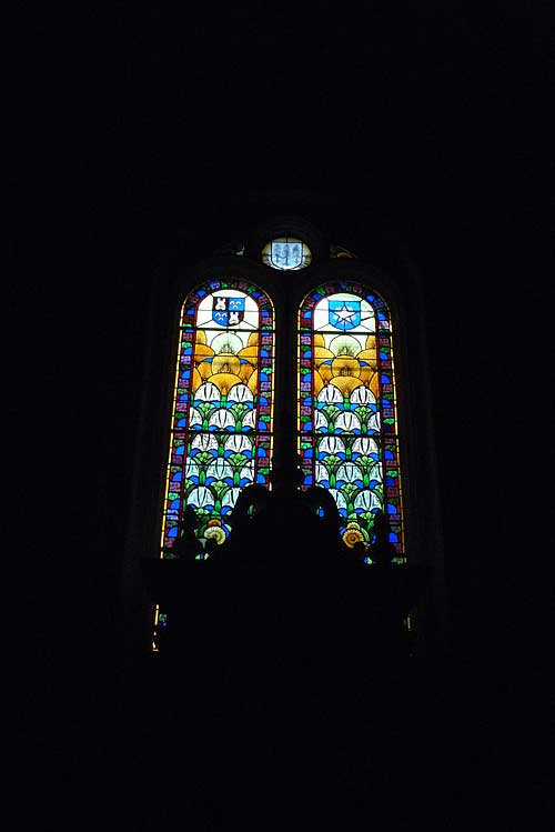 Stained glass inside the Church of St. Sever