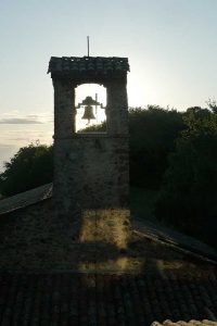 View of the bell tower from the back at the Parmenie retreat center.