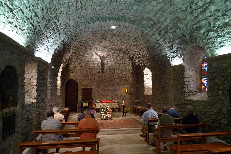 The Brothers at prayer in the chapel of the Parmenie retreat center.