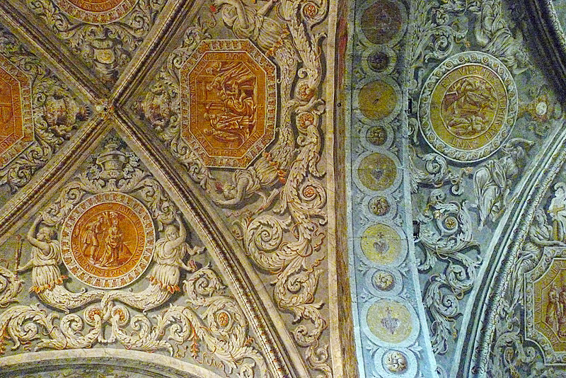 Detail from the ceiling of the chapel in the Convent of the Sisters of the Visitation.