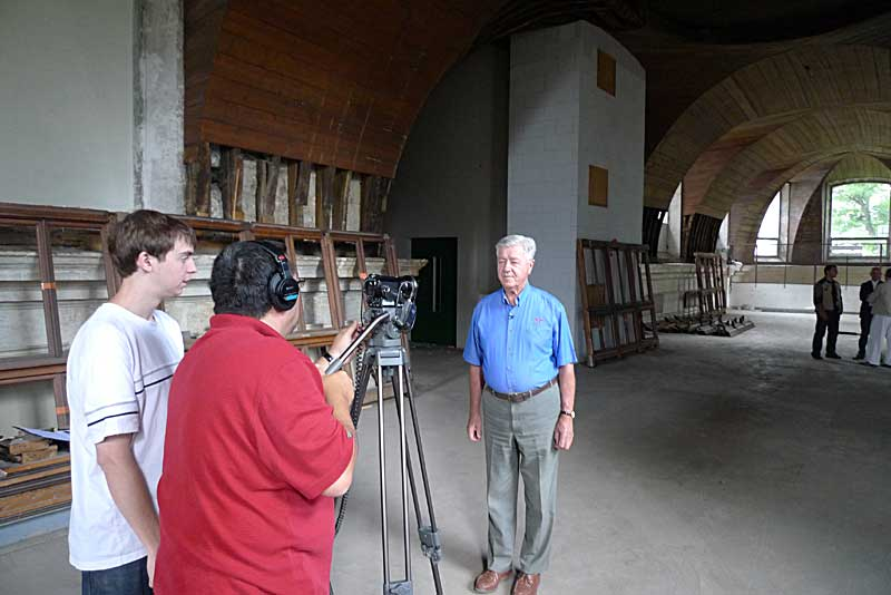 Filming in the top level of the original chapel at St. Yon in Rouen.