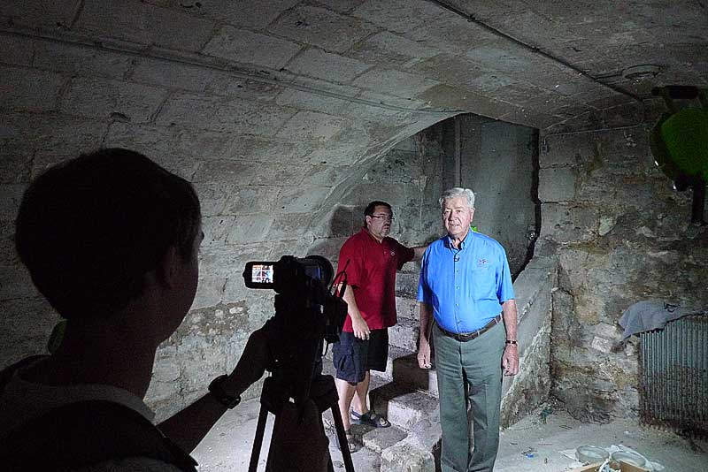Filming in the basement area of St. Yon, Rouen.