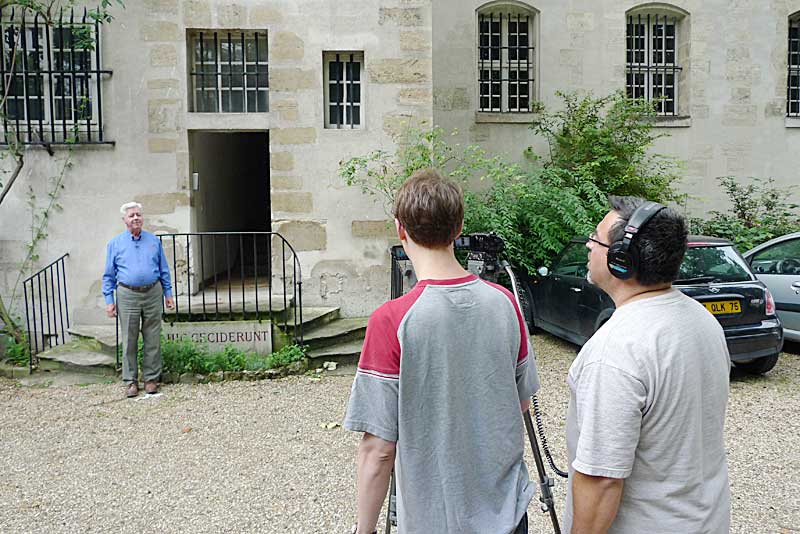 Filming at the Carmelite Abbey in Paris.