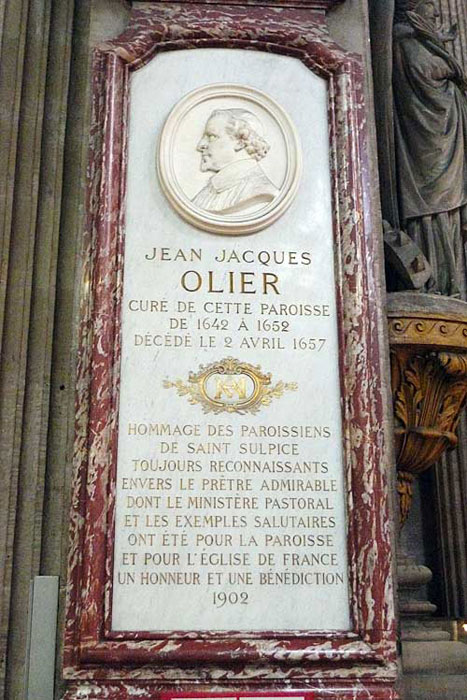 Plaque to Jean-Jacques Olier, an early inspiration to De La Salle.