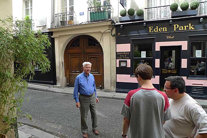 Preparing to film Br. Gerard Rummery in Rue Princesse