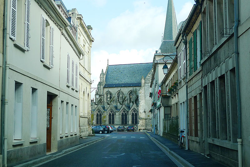 Side street near the church of Our Lady of Liesse (in Liesse, France).