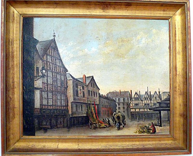 Painting depicting the square near the Hotel de la Cloche in Reims, France, around the time of De La Salle. On display in the museum there.