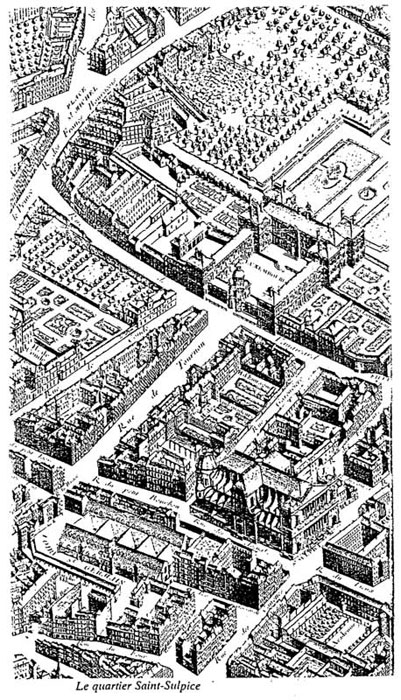 Map of the quarter of Saint Sulpice in the 17th century.