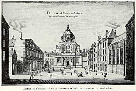 Early depiction of the Sorbonne, near the church of Saint Sulpice.