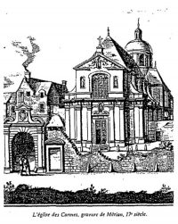 Early drawing of the Carmelite Abbey in Paris.