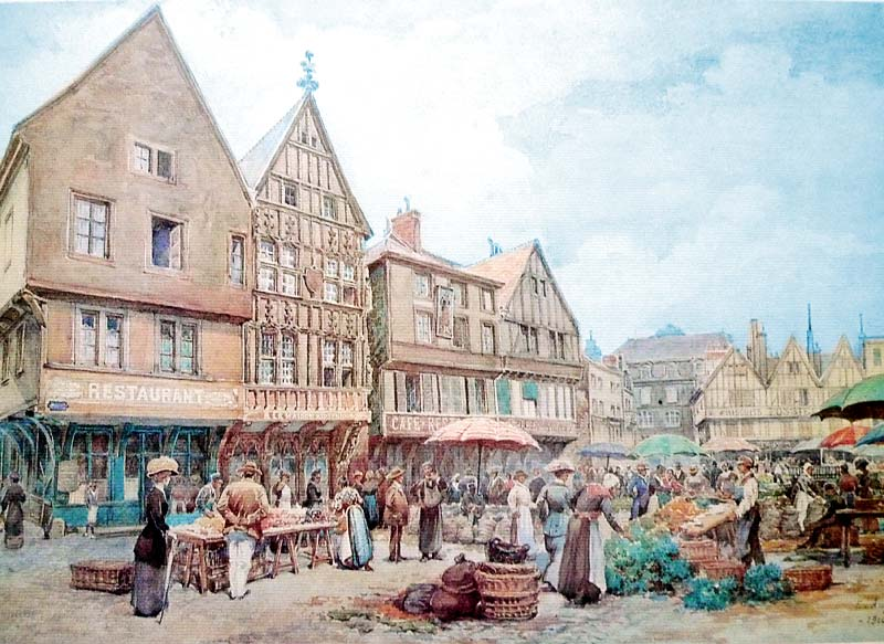 Early 20th century (?) depiction of the square near the Hotel de la Cloche in Reims, France.