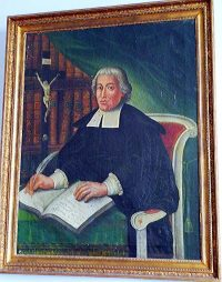 Painting of John Baptist de La Salle, on display at the Hotel de la Cloche in Reims, France.