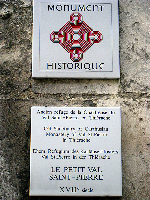 One of the historical marker in Laon, at the site of a former monastery.