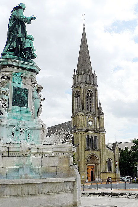 Statue of De La Salle at the Place St. Clement in Rouen, at the corner of the former St. Yon property. Church of St. Clement is across the street.
