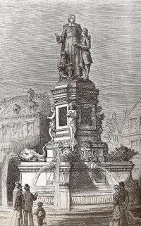 Early drawing of the statue of De La Salle, before it was moved to its present location.