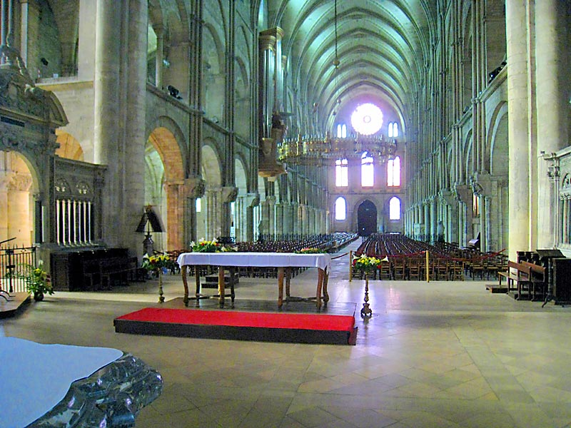 View from the main altar of the Basilica of St. Remi in Reims.