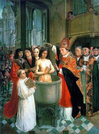 St. Remi baptizes Clovis I, in turn bringing Nicen Christianity to Franks in the late 400th century.
