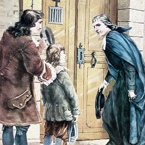 De La Salle meets Adrian Nyel at the doors of the Motherhouse of the Child Jesus
